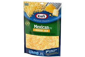 Kraft Mexican Style Cheddar Jack Shredded Natural Cheese 8 Oz Bag