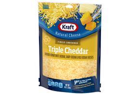 Kraft Triple Cheddar Cheese Blend Shredded Natural Cheese 8 Oz Bag