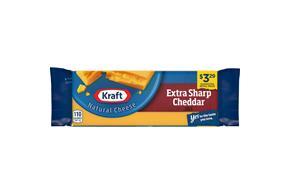 Kraft Extra Sharp Cheddar Natural Cheese Block  8 Oz  Vacuum Packed