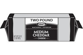 Kraft Medium Cheddar Natural Cheese Block 2 Lb Vacuum Packed