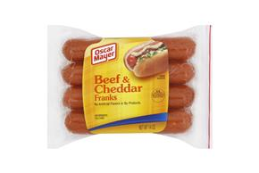 Oscar Mayer 14 Oz Hot Dogs  Cheesy Beef     12 Vacuum Packed Each