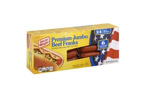 Oscar Mayer Premium Jumbo Beef Franks 6-4 Ct Packs