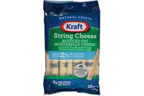 Kraft 2% Milk Reduced Fat Mozzarella Natural String Cheese Sticks 10 Oz Bag (12 Sticks)