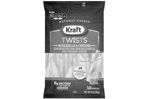 Kraft Mozzarella & Cheddar Twists Natural Cheese Sticks 9 Oz Bag (12 Sticks)