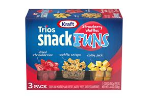 Kraft Trios Snackfuns Strawberry Waffles 3.84 Oz Carton 3-Count