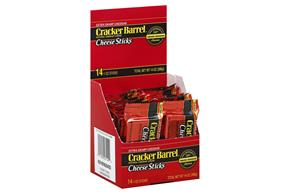 Cracker Barrel 1 Oz Natural Cheese-Sticks  Extra Sharp Cheddar     14 Box/Carton Inner Pack