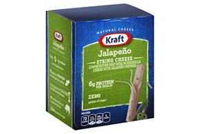 Kraft 0.0834 Oz Natural Cheese-String Low Moisture Part Skim Jalapeno     24 Box/Carton Inner Pack