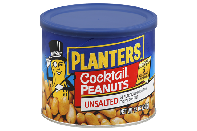 Planters Unsalted Cocktail Peanuts 12 Oz Canister