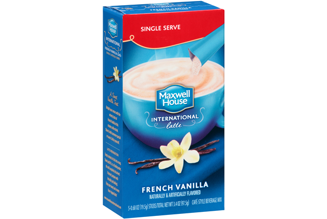 Maxwell House International Cafe 3.4 Oz Coffee Drink-Instant Flavored  French Vanilla Latte     5 Bo