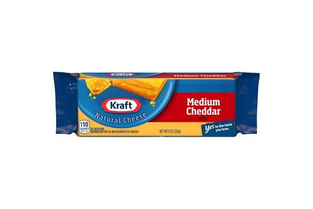 Kraft Medium Cheddar Natural Cheese Block  8 Oz  Vacuum Packed
