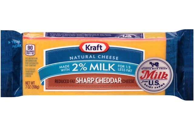 Kraft 2% Milk Sharp Cheddar Natural Cheese Block  7 Oz  Vacuum Packed
