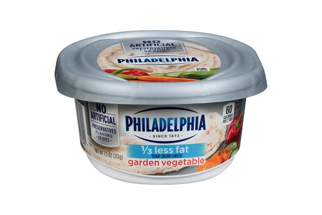 Philadelphia 1/3 Less Fat Garden Vegetable Cream Cheese Spread 7.5 Oz. Tub