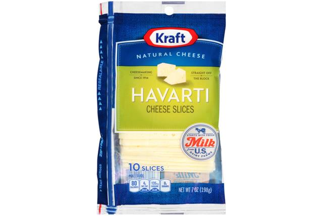 Kraft Havarti Cheese Natural Cheese Slices  7 Oz Film Wrapped (10 Slices)