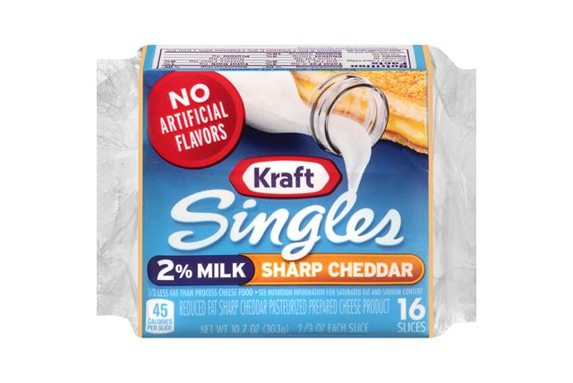 Kraft Singles 2% Milk Sharp Cheddar Cheese Slices 10.7 Oz Wrapped (16 Slices)