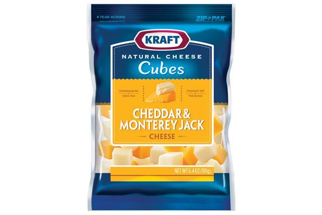 Kraft Cheddar & Monterey Jack Natural Cheese Cubes  6.4Oz Bag