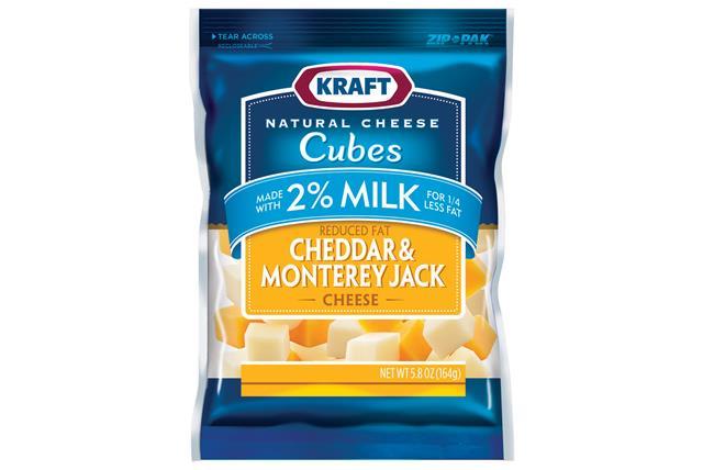 Kraft 2% Milk Cheddar & Monterey Jack Natural Cheese Cubes  5.8Oz Bag