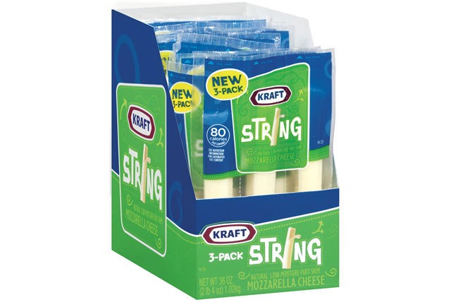 Kraft Natural Cheese Snacks Mozzarella Low-Moisture Part-Skim 3 Pack String Cheese 12 Ct Tray