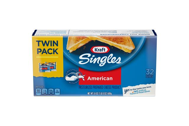 Kraft Singles American Cheese Slices 24 Oz Wrapped (32 Slices) Twin Pack