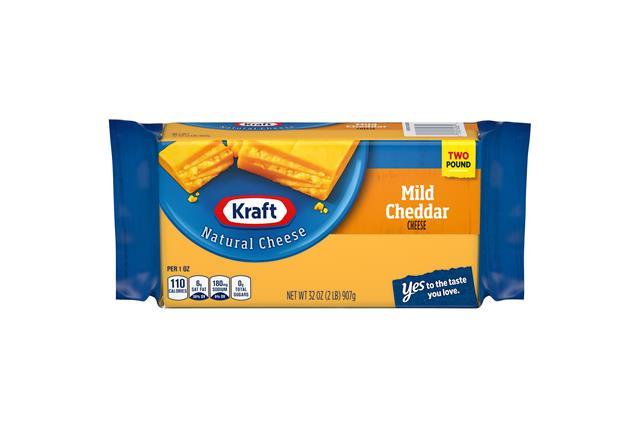 Kraft Mild Cheddar Natural Cheese Block 2 Lb Vacuum Packed