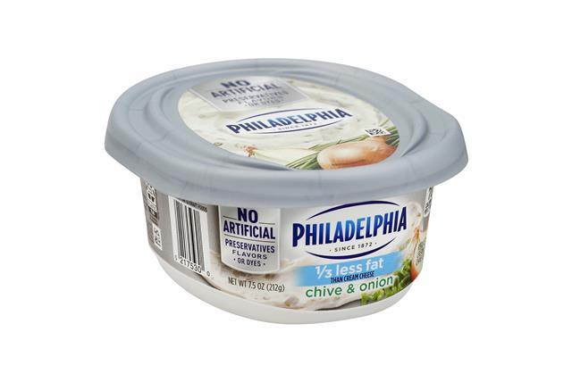 Philadelphia 1/3 Less Fat Chive & Onion Cream Cheese Spread 8 Oz. Tub