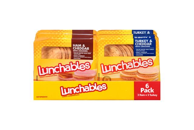 Oscar Mayer Lunchables Ham & Cheddar/Turkey & Cheddar Lunch Combinations Variety Pack 6-3.2 Oz. Tray