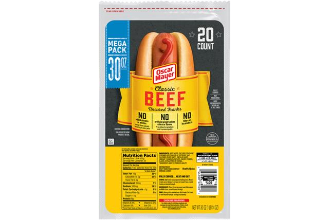 Oscar Mayer Premium Beef Franks 1658 on oscar mayer selects turkey nutrition
