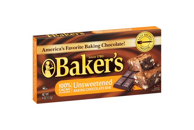 Baker's Unsweetened Chocolate Baking Squares 4 Oz. Box