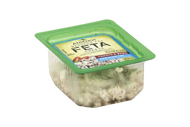 Athenos Crumbled Tomato & Basil Reduced Fat Feta Cheese 3.5 Oz. Tub