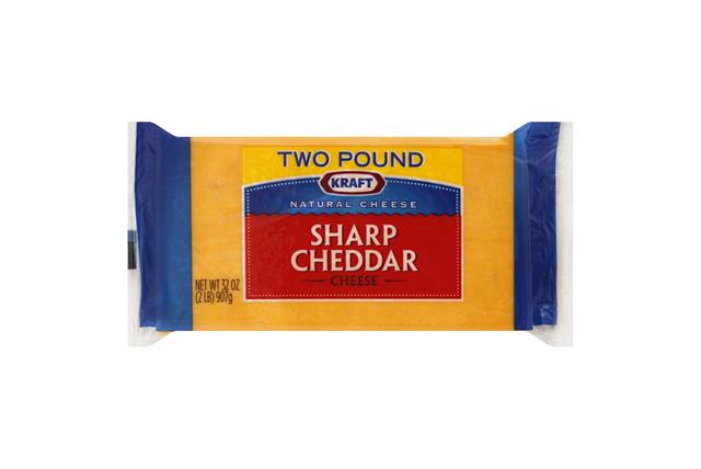 Kraft Natural Cheese Cheddar Sharp Chunk Cheese 2 Lb Brick