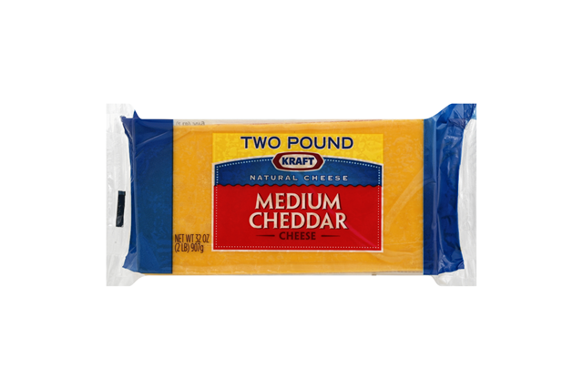 Kraft Natural Cheese Cheddar Medium Chunk Cheese 2 Lb Brick