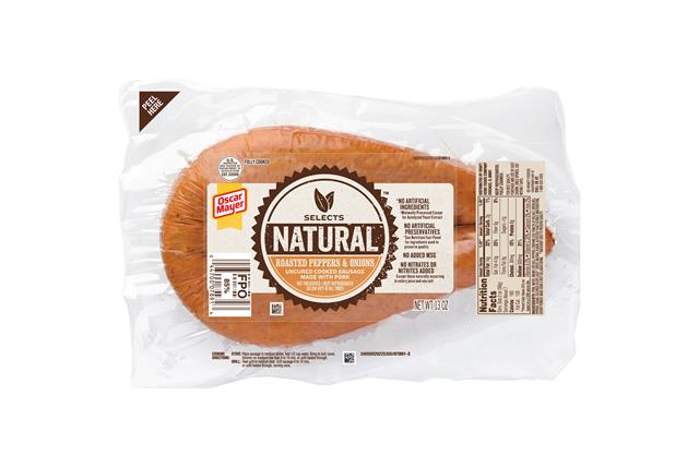 Oscar Mayer Natural Roasted Peppers & Onions Uncured Pork Sausage 13Oz Pack