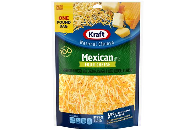 Kraft Mexican Style Four Cheese Finely Shredded Natural Cheese  16Oz Bag