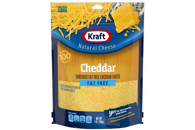 Kraft Fat Free Cheddar Shredded Natural Cheese 7Oz Bag