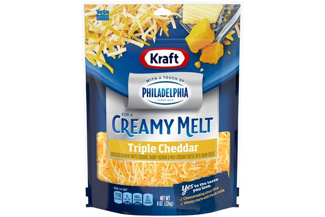 Kraft Triple Cheddar Cheese Blend With Philadelphia Cream Cheese Shredded Cheese 8 Oz Bag