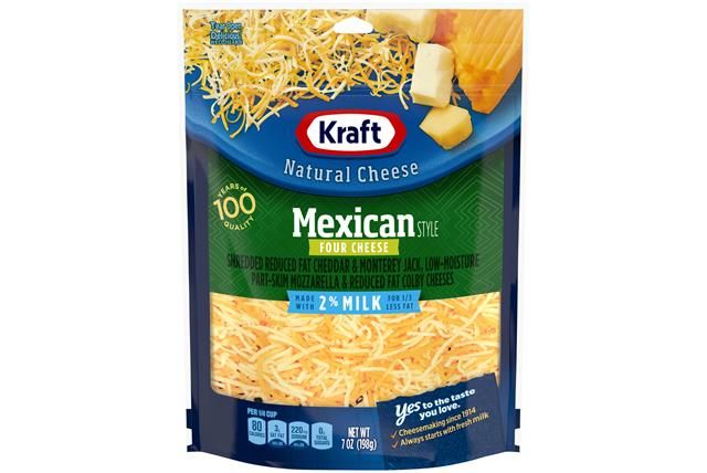 Kraft 2% Milk Mexican Style Four Cheese Shredded Natural Cheese 7Oz Bag