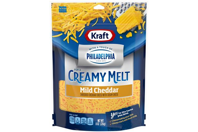 Kraft Mild Cheddar With A Touch Of Philadelphia Shredded Natural Cheese  8Oz Bag