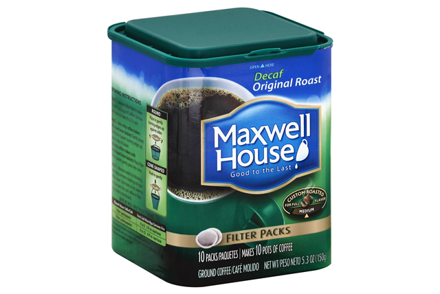 Maxwell House Filter Packs Decaffeinated 10 Ct Coffee 5.3 Oz Canister