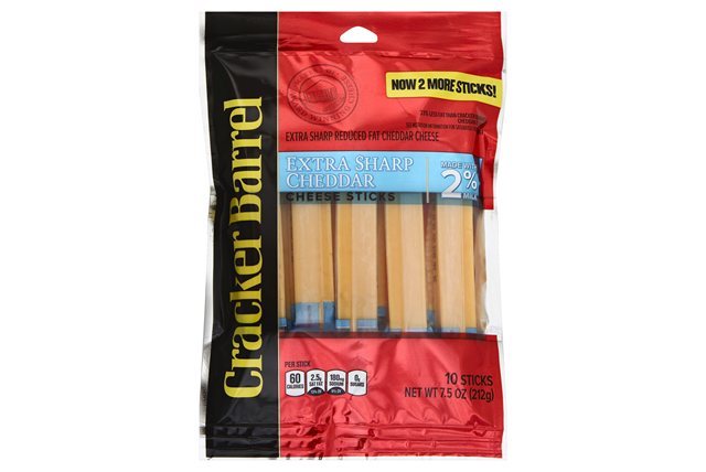 Cracker Barrel Extra Sharp Cheddar Cheese Sticks Made With 2% Milk 10 Ct Bag