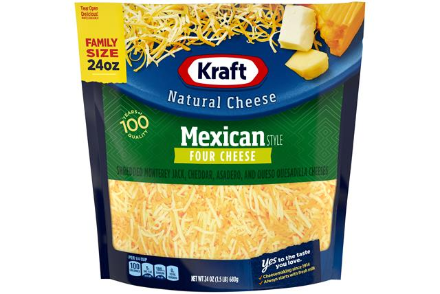 Kraft Mexican Style Four Cheese Family Size Finely Shredded Natural Cheese  24Oz Bag