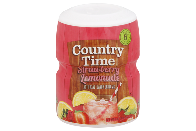 COUNTRY TIME Strawberry Lemonade Sugar Sweetened Powdered Soft Drink 29 oz. Cannister