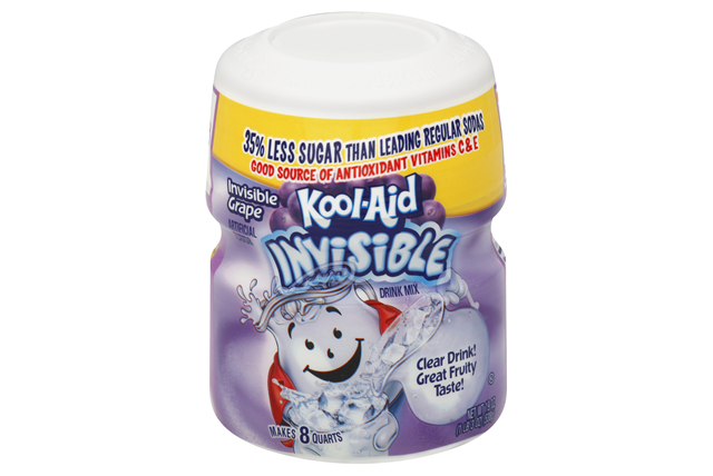 Kool-Aid Invisible Grape Sugar Sweetened Soft Drink Mix 19 Oz Canister