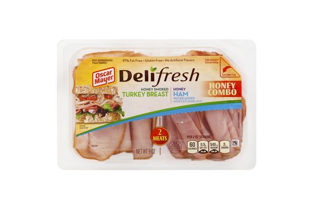 OSCAR MAYER Deli Fresh Combos Honey Ham & Smoked Turkey 9oz Tub
