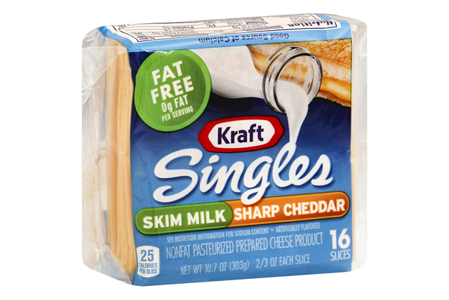 Kraft Singles Skim Milk Sharp Cheddar Cheese Slices 16 Ct Pack