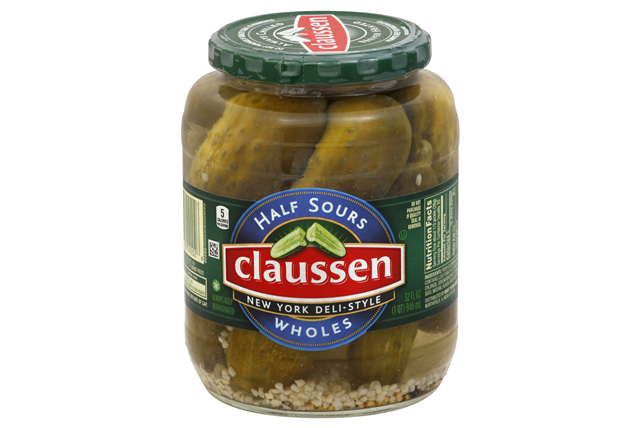 CLAUSSEN Half Sour New York Deli Style Whole Pickles 32 oz. Jar