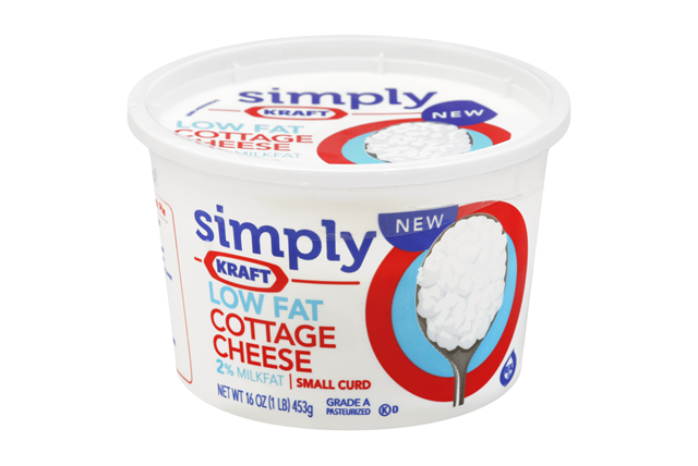 Simply Kraft Small Curd 2% Milkfat Low Fat Cottage Cheese 16 Oz. Tub