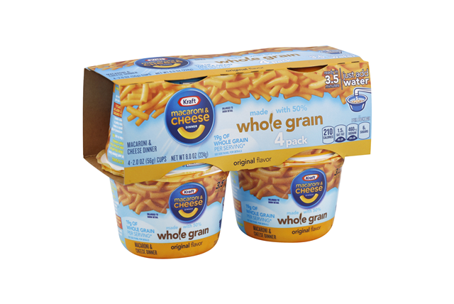 Kraft Macaroni & Cheese Dinner Whole Grain Original Flavor 4-2.0 oz. Microcups