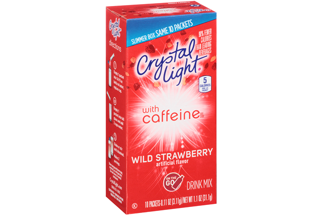 Crystal Light with Caffeine Wild Strawberry On the Go Drink Mix 10-0.11 oz. Packets