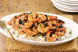 Three-Chile BBQ Shrimp with Cheesy Rice