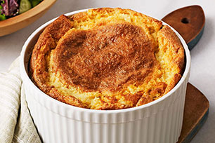 Roasted Garlic & Cheese Grits Soufflé