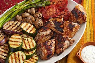 Pollo con vegetales a la parrilla